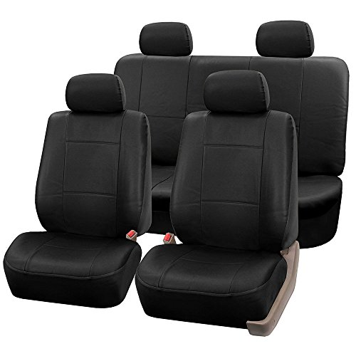 FH Group PU002114 Classic Exquisite Leather Full Set Car Seat Covers Airbag Compatible And Split Ready Solid Black Color Fit Most Truck Suv