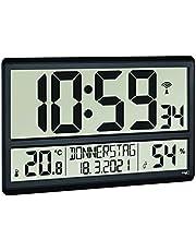 TFA Dostmann XL digital radioklocka, DCF-signalen kan stängas av, stor display, digital väggklocka med temperaturvisning, 60.4520.01