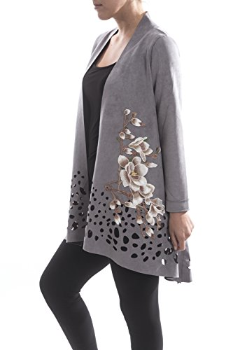 Aris. A Faux Suede Laser Cut Embroidered Grey Jacket Style RB17606 Size Large by Aris. A