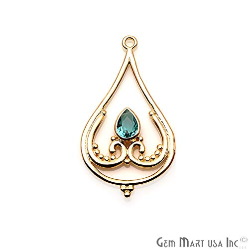 Apatite Gemstone Pendant, Necklace Pendant, 40x22mm Gold Plated, Trillion Shape Pendant GemMartUSA (GPAP-50242)