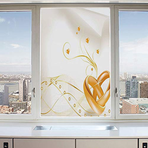 - 3D Decorative Privacy Window Films,Wedding Rings Entangled in Shape of Heart 3D Style Romantic Design,No-Glue Self Static Cling Glass Film for Home Bedroom Bathroom Kitchen Office 24x36 Inch