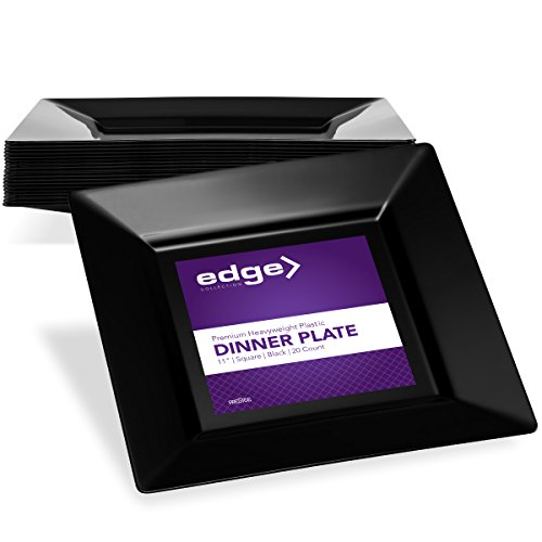 EDGE PLASTIC PARTY DISPOSABLE PLATES | 11 Inch Black Hard Square Large Wedding Dinner Plates, 20 Ct | Elegant & Fancy Heavy Duty Hard Party Supplies Plates for Holidays & Occasions -