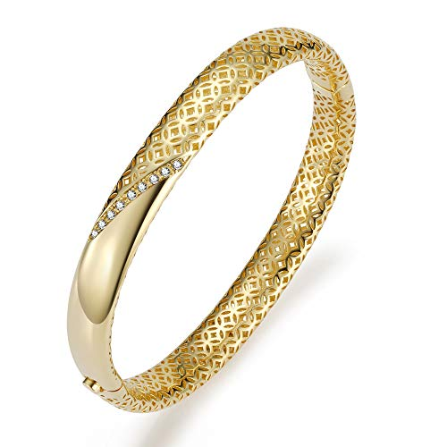 - Hollow CZ Bangle Bracelet for Women 3D Two Layers 18K Gold Plated Cubic Zirconia Hinged Bangle Jewelry Gift for Girls