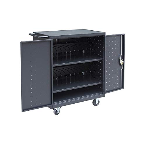 Pearington 24 Bay Rolling, Charging Cart Station for Classroom and Office- For use with Chromebooks, iPad, Tablets and Laptop Computers; Secure Locking Cabinet Storage-Store up to 15