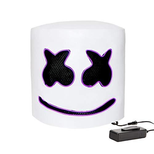 DJ Marshmello Helmet Costume Music Festival Parties Halloween Scary Mask LED Light Up Masks (DJ-Purple) ()