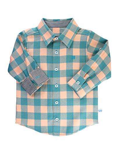 RuggedButts Baby/Toddler Boys Storm Blue Buffalo Plaid Button Down Shirt - 18-24m