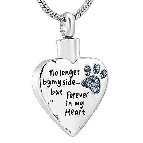 - memorial jewelry No Longer by My Side,But Forever in My Heart Carved Locket Cremation Urn Necklace for Pet Dog Cats (Blue-Heart)