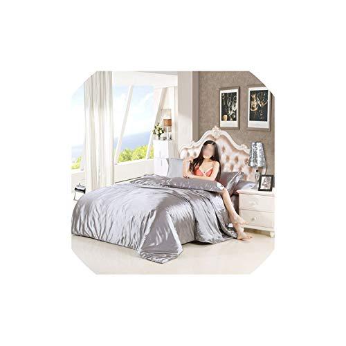 Duvet Cover Sets Silk Bedding Set with Duvet Cover Bed Sheet Pillowcase 4pcs Satin Bedding,Color 20,Queen Size 4pcs