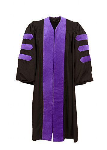 American Doctoral Gown (Black with Purple velvet + no piping) (145-151cm (4'9-4'11)) by Graduation Attire