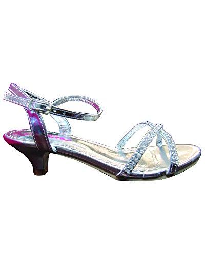 Josmo Girls Dress Sandals, Silver Metallic (13 M US Little Kid)