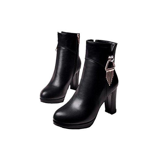Bajo lateral con cremallera impermeable plus tamaño señoras moda botas negro