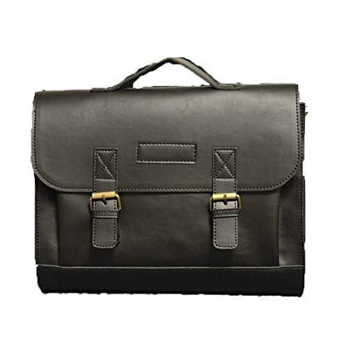 (Casual Men Briefcase Crazy Horse PU Leather Messenger Bag Male Laptop Bag Business Travel Bag)