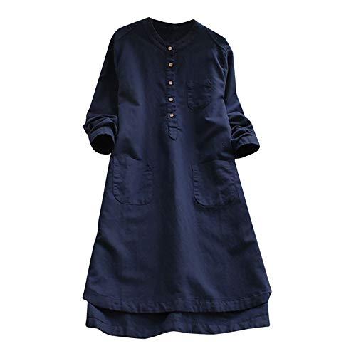 (Mlide Womens Cotton Linen Dress,Plus Size Loose Button Tops Blouse,Retro Long Sleeve Mini Shirt Dress(Navy,XXXXX-Large))