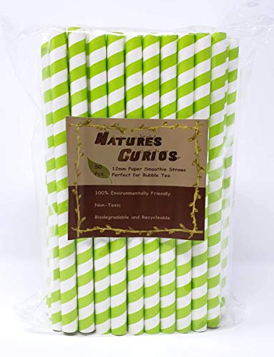 Nature's Curios 50-pack Biodegradable 0.5 inch (12mm) wide Paper Drinking Straws - Green Stripe - Bulk Jumbo Paper Straws for Juices, Shakes, Smoothies, Bubble Boba Tea, Party Supplies and ()