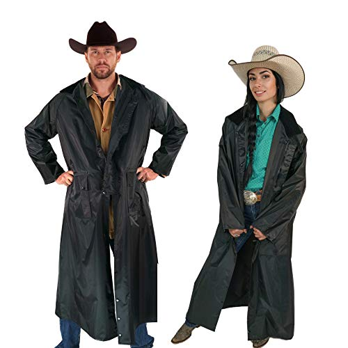 Southwestern Equine American Cowboy Saddle Slicker Rain Coat Duster - 100% Waterproof Full Length Unisex (Black, Large)