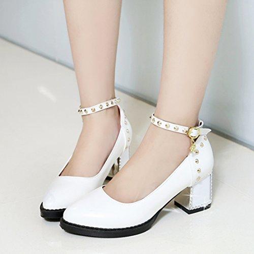 AIYOUMEI Damen Chunky Heel Pumps mit Nieten und 6cm Absatz Blockabsatz Riemchen Pumps Schuhe Weiß