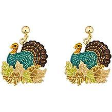 Lova Jewelry Retro Turkey Foliage Thanksgiving Fall Enameled Gold Tone Metal Dangle Earrings