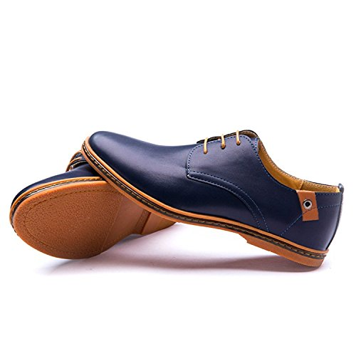 Autunno Pelle Stringate in Scarpe Scarpe Minetom Uomo Moda Basse Classiche Blu Basse Scarpe Casual Oxford ZvTfqwx5