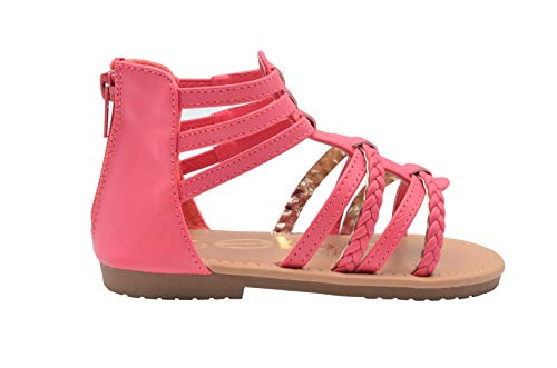 - bebe Girls Toddler/Little Kid Strappy Ankle High Back Zipper Gladiator Sandals With Braided Accent Size 5 Coral/Gold