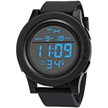 Men's Digital Sports Watch, Windoson Large Face LED Screen Military Watches and Casual Waterproof Luminous Simple Army Watch Stopwatch Alarm - Mens Watches (Black)