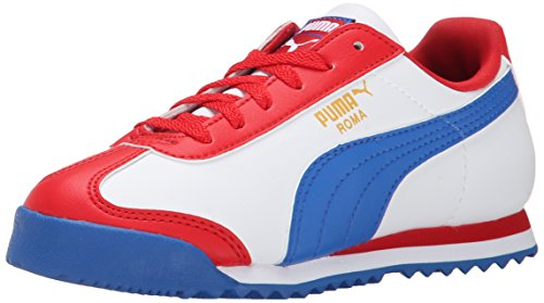 PUMA Roma Basic JR Classic Sneaker (Little Kid/Big Kid), High Risk Red/White/Strong Blue, 2 M US Little Kid