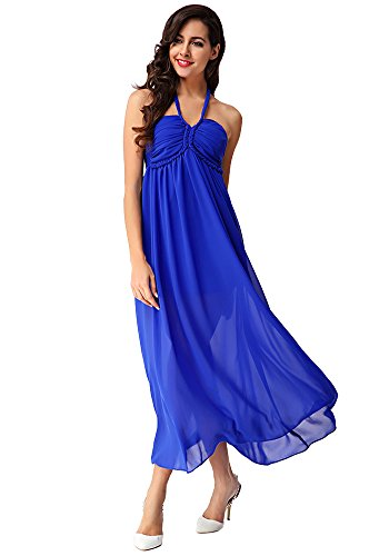 Bohemian Maxi DOOXILADY Style s Stylish Dresses Long Women Blue PtAq4