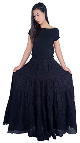 Lannaclothesdesign Women's Cotton Long Ruffle Full Circle Long Skirts Maxi Skirt (Lenght 37 inches, Black) -