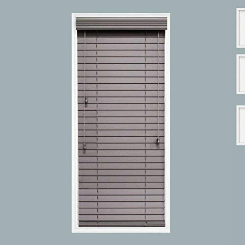 TailorView, Custom Made 2 Inch Faux Wood Horizontal Window Blind, Granite (Dark Gray,) Inside Mount, Inner Window Size: 26″ W x 54″ H