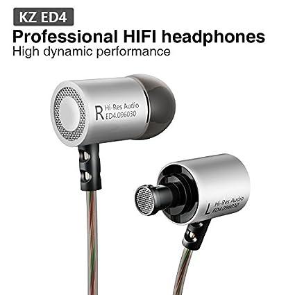 KZ ED4 Auriculares estéreo de metal Aislamiento de ruido Auriculares intrauditivos con micrófono (plata)
