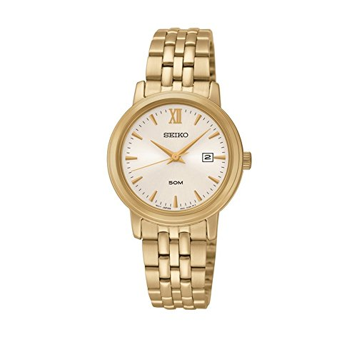 Seiko Three Hand Date Gold Tone SS Silver Dial Women's Watch SUR814 by Seiko