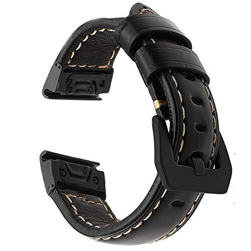 Azadodo 22mm Genuine Leather Easy Fit Watch Band with Metal Buckle for Garmin Fenix 5 / Fenix 5 Plus/Forerunner 935 / Approach S60 / Quatix 5
