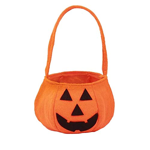 Anytec Halloween Pumpkin Bag Baskets Trick or Treat Candy Sweets Handbag Buckets Holder Cookies Craft Tote for Kids Children Party Supplies (Purse Cookie Favor)