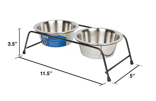 Cat-Bowl-For-Food-Water-With-Elevated-Stand-Cat-Diner-Stainless-Steel-Set-Of-2-Dishwasher-Safe-Raised-Feeders-By-Just-Pet-Solutions
