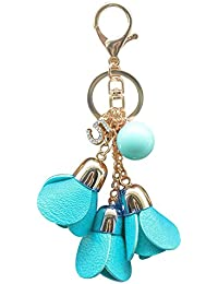 Fashion Rose Flower Leather Tassel Chain Pendant Keychain Car Bag Keyring