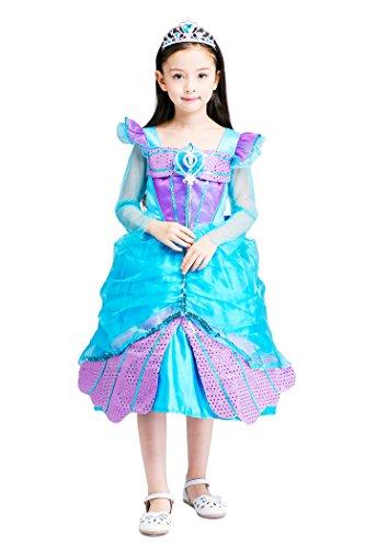 YMING Girls Princess Blue Cosplay Dress Christmas Halloween Mermaid Costume 4-5 Years (Cinderalla Dress)