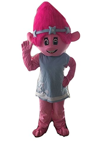 Recycled Costumes For Boys (Trolls Poppy Pink Costume Adult Size For Birthday Boy or Girl Birthday Party Event)