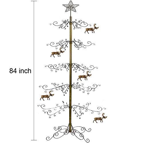 HOHIYA Christmas Tree Xmas Wrought Iron Display Stand Metal Ornament 7 to 8 Feet(Gold) (Iron Prices Wrought)