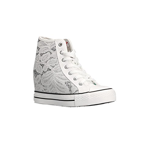 Sneakers Mid Woman White Shoes Canvas Glitter DG924 Caf Bianco Noir Wedge qBwPpp