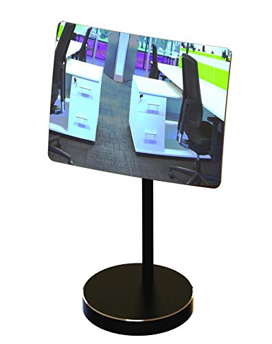 - Desk and Cubicle Mirror to See Behind You, Black Stand with Detachable Wide Angle Real Glass Mirror, Small & Discrete, Beautiful Design, Perfect Curvature for an exceptionally Clear View