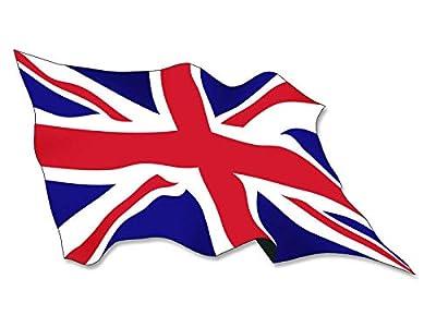 Crazy Discount Vinyl Sticker Decal Waving Union Jack Flag Wave England UK Britain British 3x5 inch