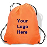 Promotional Drawstring Bag String-A-Sling Backpack- 15''w x 18''h flat bag- 200 Quantity - $1.80 Each -Promotional Products Bulk Custom Branded with YOUR LOGO for Free C2BPromo #C2BB0054-Orange