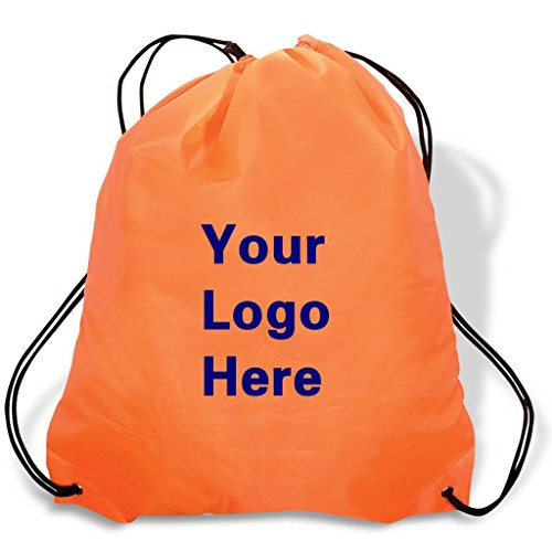 Promotional Drawstring Bag String-A-Sling Backpack- 15''w x 18''h flat bag- 100 Quantity - $1.83 Each -Promotional Products Bulk Custom Branded with YOUR LOGO for Free C2BPromo #C2BB0054H-Orange by C2BPROMO.COM YOU PRICE IT. WE DELIVER IT.