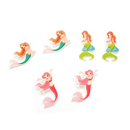 Multi Pairs Cute Drop Dangle Enamel Earrings Sets for Little Girls Hypoallergenic (Mermaid) ()