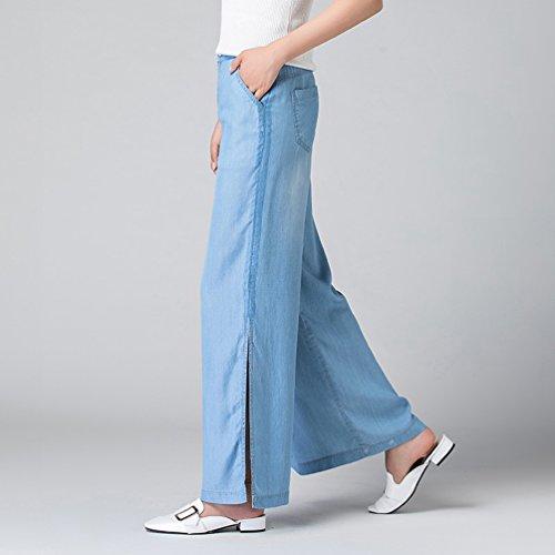 de Femmes Pantalons Jeans Xinwcanga de Occasionnels Haute Jambe Bleu Taille Larges Lumire qH8d6Wxdn