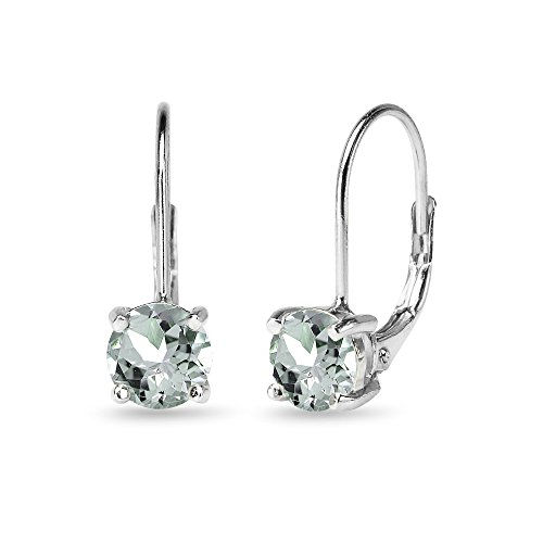 Aquamarine Earrings Leverback (Sterling Silver 6mm Round-Cut Light Aquamarine Leverback Earrings)