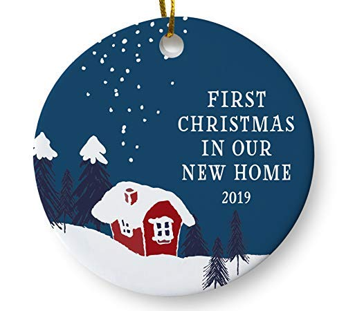 (First Christmas in Our New Home 2019 Christmas Ornament, Winter Woodland Ornament, Housewarming Gift, Homeowner Present, 3 Inch Flat Ceramic Ornament with Gift)