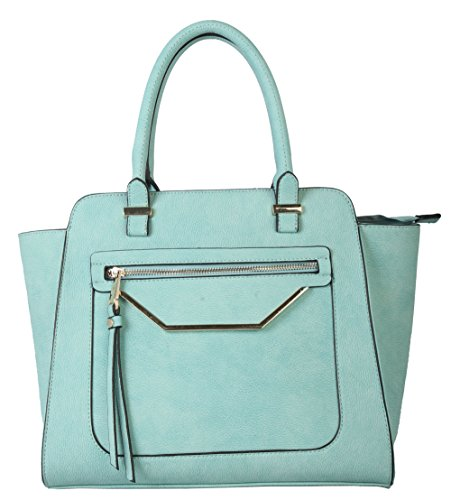 rimen-co-shell-shape-tote-accented-with-front-zippered-pocket-womens-purse-handbag-gs-2993-green