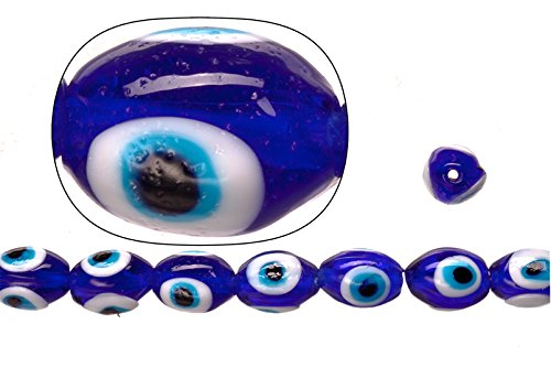 Glass beads, sapphire base evil eye amulet design, 12.5x16mm oval. sold per 36cm string