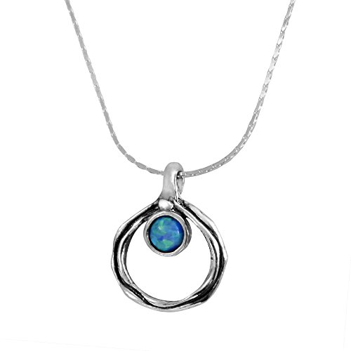 925 Sterling Silver Handcrafted Blue Simulated Opal Stone Pendant Open Circle Necklace 22cm Adjustable Length Chain