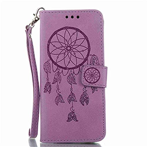 Galaxy S8 Plus Wallet Case, Jenny Shop Folio Style Stand Feature Samsung Galaxy S8+ Card Case Premium Protective Windbell Embossed Design PU Leather Flip Cover w/Wrist Strap Magnetic (Purple) -